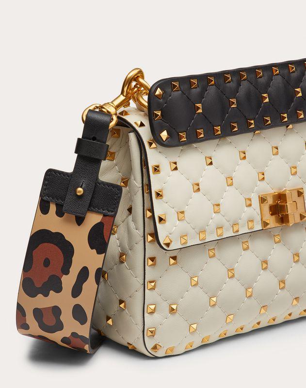 Средняя сумка на ремешке Rockstud Spike.It из кожи наппа с леопардовым
