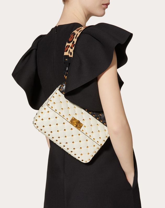 Medium Rockstud Spike.It Nappa Bag with Leopard Print Strap