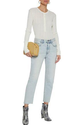 Current Elliott Current/Elliott Woman The Vintage Cropped Faded Mid-Rise Straight-Leg Jeans Light Denim