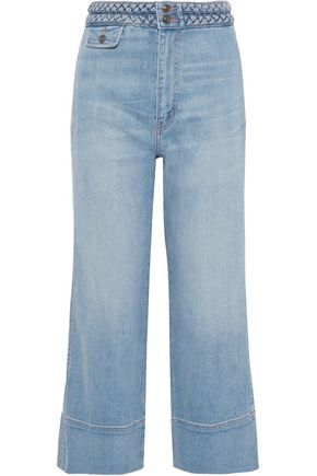 CURRENT/ELLIOTT The Braided Camp cropped high-rise wide-leg jeans