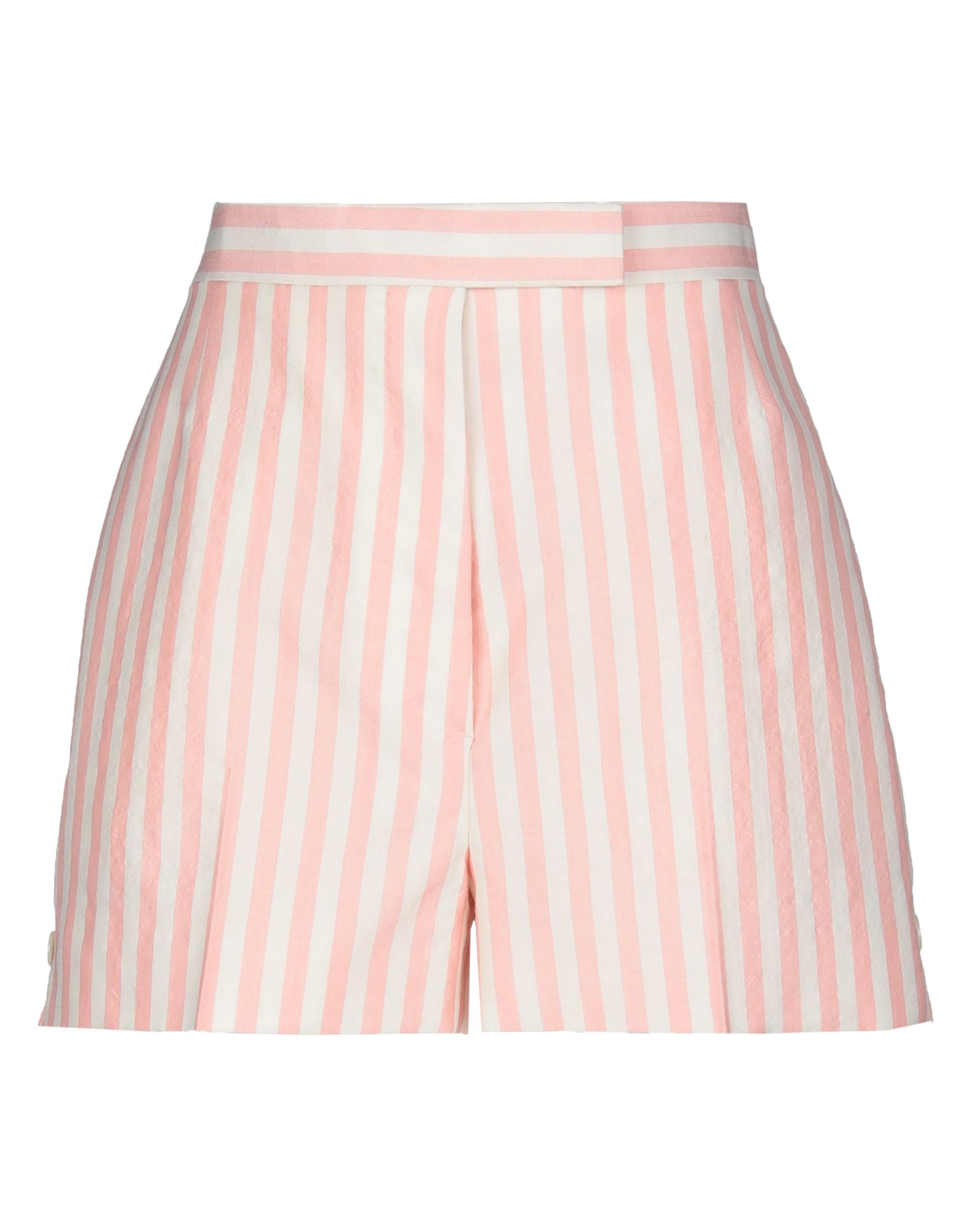 THOM BROWNE Shorts. plain weave, contrasting applications, stripes, high waisted, regular fit, straight leg, hook-and-bar, button fly closure, multipockets, side slit hemline, fully lined. 74% Wool, 20% Mohair wool, 6% Silk