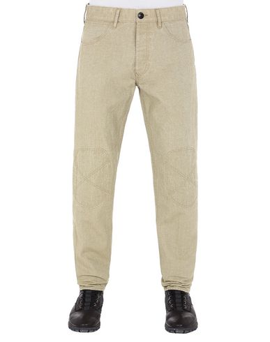 STONE ISLAND J03J1 PANAMA PLACCATO RE-T PANTS - 5 POCKETS Man Dark Beige USD 179