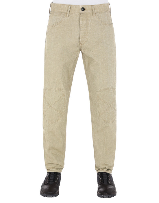 STONE ISLAND J03J1 PANAMA PLACCATO RE-T TROUSERS - 5 POCKETS Man Dark Beige
