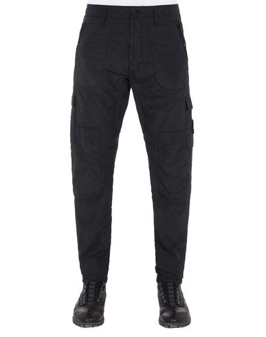 STONE ISLAND 32029 S.I.PA/PL SEERSUCKER-TC  Pants Man Black USD 406