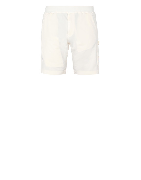 STONE ISLAND 650F3 GHOST PIECE FLEECE BERMUDA SHORTS Man Natural White