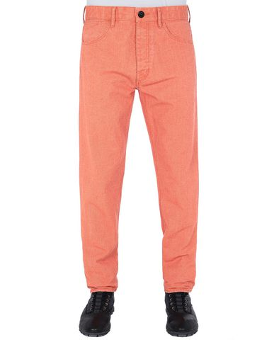 STONE ISLAND J02J1 PANAMA PLACCATO RE-T Pants Man Lobster Red USD 140