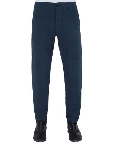 STONE ISLAND 32237 SEERSUCKER CO-TC Pants Man Marine Blue EUR 270