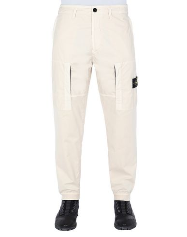 STONE ISLAND 30107 MUSSOLA GOMMATA + STRETCH COTTON TWILL-TC Trousers Man Beige EUR 221