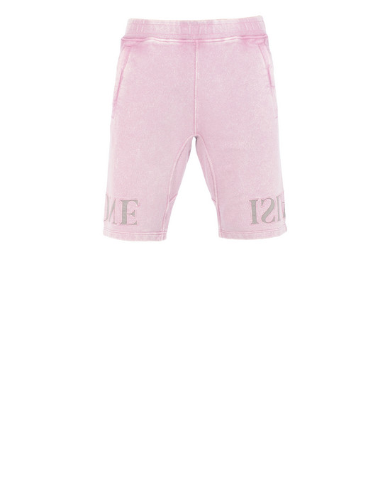 STONE ISLAND 66354 FLECK TREATMENT FLEECE BERMUDA SHORTS Man Pink Quartz