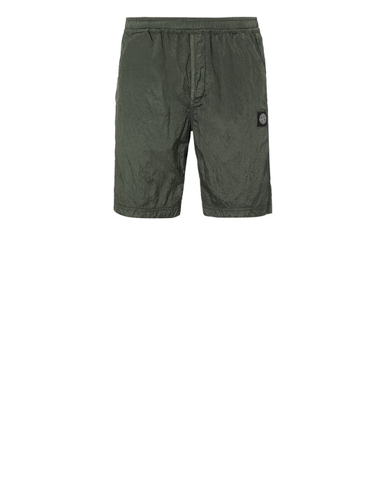 STONE ISLAND 66736 NYLON METAL RIPSTOP FLEECE BERMUDA SHORTS Man Olive Green