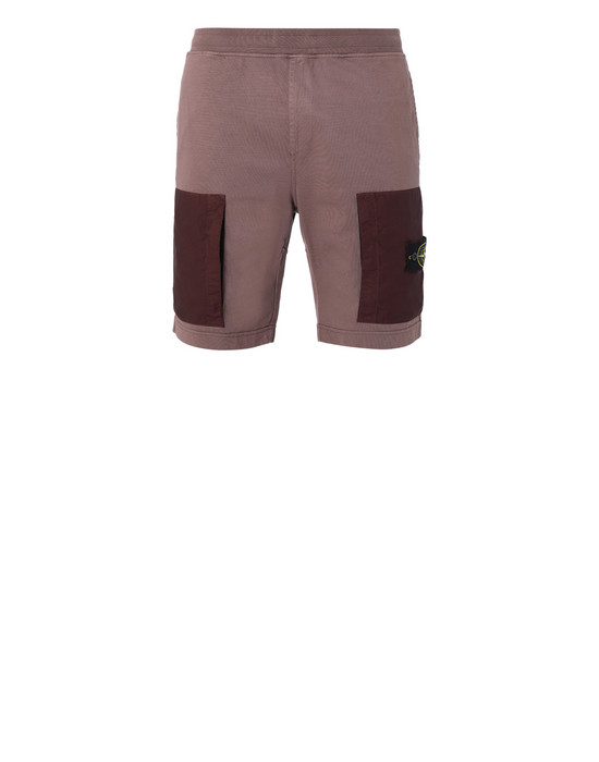 STONE ISLAND 62353 FLEECE BERMUDA SHORTS Man MAHOGANY BROWN