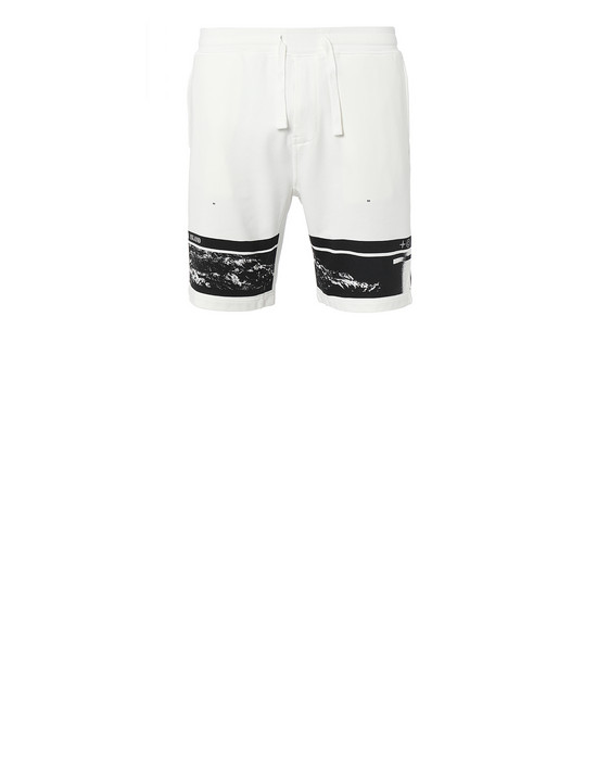 "STONE ISLAND 66595""DRONE FOUR""  FLEECE BERMUDA SHORTS Man Ivory"