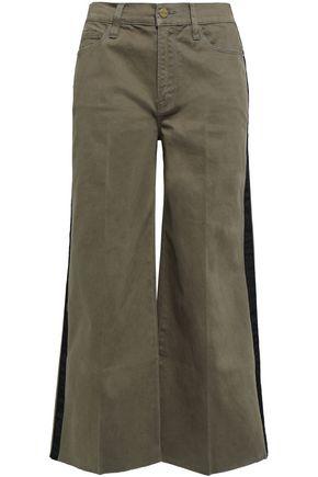 FRAME Striped stretch cotton-gabardine wide-leg pants