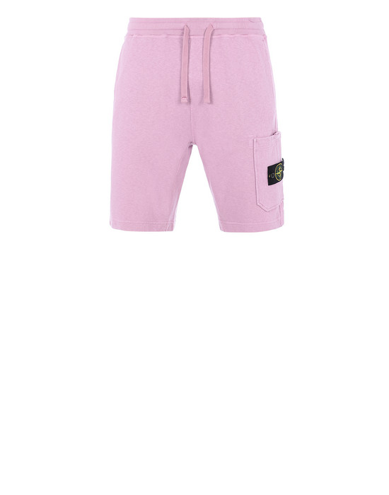 STONE ISLAND 63460 T.CO+OLD FLEECE BERMUDA SHORTS Man Pink Quartz