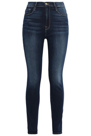 FRAME Cropped faded high-rise skinny jeans