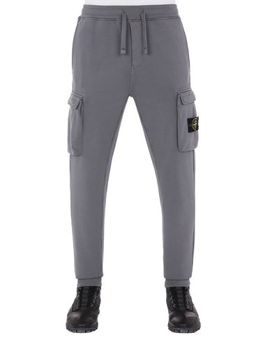STONE ISLAND 63251 Fleece Trousers Man Blue Grey EUR 275