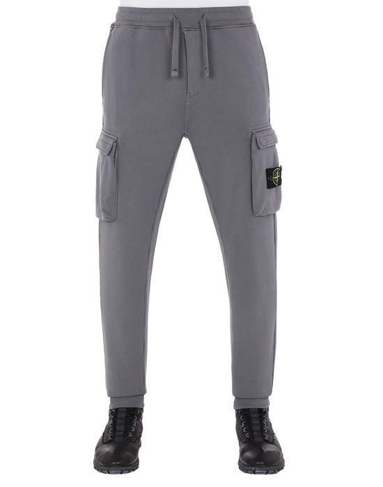 STONE ISLAND 63251 Fleece Trousers Man Blue Grey