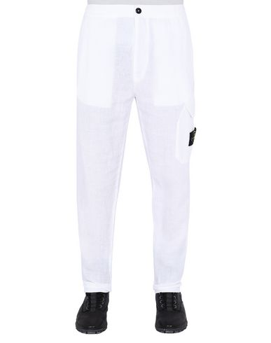 "STONE ISLAND 31101""FISSATO""DYE TREATMENT Trousers Man White EUR 170"