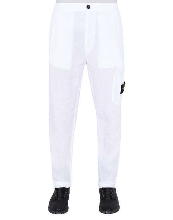 "STONE ISLAND 31101""FISSATO""DYE TREATMENT Pants Man White"