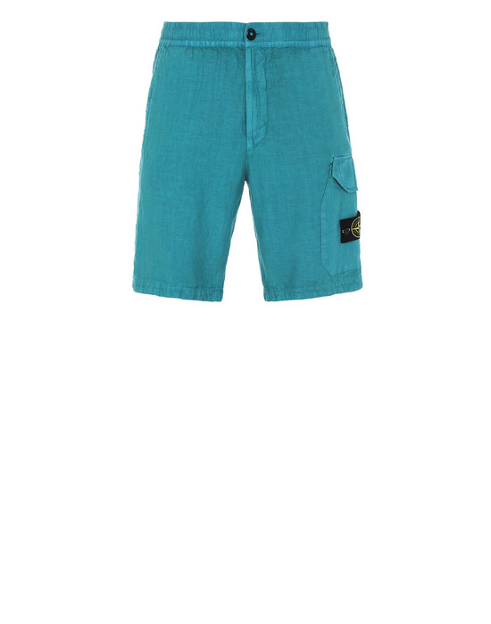 "STONE ISLAND L0301""FISSATO""DYE TREATMENT  Bermuda shorts Man Turquoise"