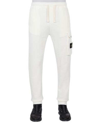 STONE ISLAND 65760 T.CO+OLD Fleece Trousers Man Ivory EUR 249