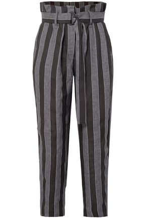BRUNELLO CUCINELLI Cropped belted striped linen straight-leg pants