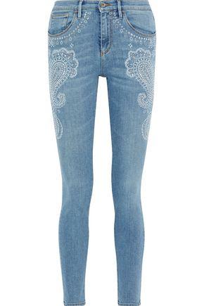 ROBERTO CAVALLI Crystal-embellished faded mid-rise skinny jeans