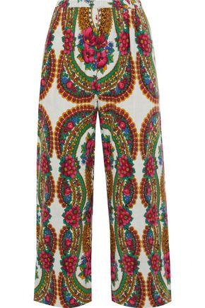 MES DEMOISELLES Pavoloski printed brushed cotton-blend twill wide-leg pants