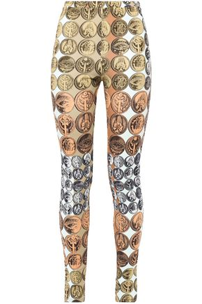 ROBERTO CAVALLI Printed stretch-crepe leggings
