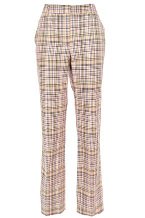 CAROLINA HERRERA Checked woven cotton straight-leg pants