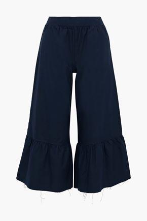 ATM ANTHONY THOMAS MELILLO Cropped ruffled cotton-Oxford wide-leg pants
