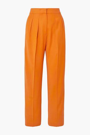 ROKSANDA Satin-trimmed twill tapered pants