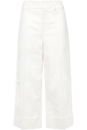 GOEN.J Cropped crochet-trimmed cotton-blend gabardine wide-leg pants