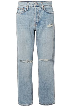RE/DONE Cropped faded high-rise straight-leg jeans