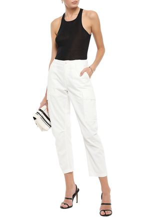 Re/done Pants RE/DONE WOMAN CROPPED COTTON-GABARDINE TAPERED PANTS IVORY