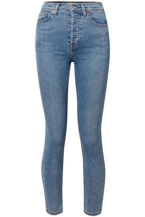 RE/DONE Cropped faded mid-rise skinny jeans