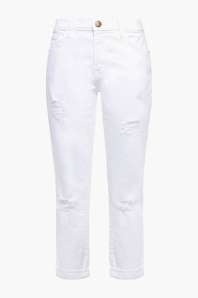 CURRENT/ELLIOTT Distressed low-rise slim-leg jeans
