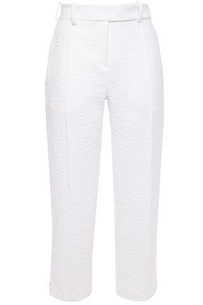 ALEXANDRE VAUTHIER Cropped striped cotton-blend tweed straight-leg pants