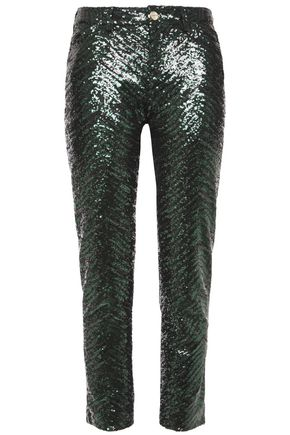 ALEXANDRE VAUTHIER Cropped sequined tulle slim-leg pants