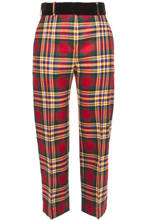 ALEXANDRE VAUTHIER Cropped velvet-trimmed checked wool straight-leg pants