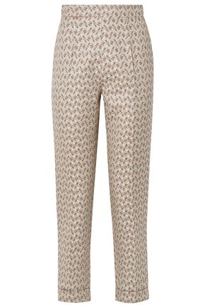 BROCK COLLECTION Peregrine embroidered cotton and silk-blend brocade tapered pants