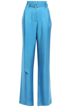 SALLY LAPOINTE Belted pleated satin-twill wide-leg pants