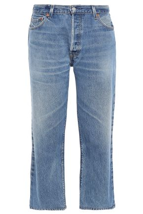 RE/DONE with LEVI'S Cropped faded mid-rise straight-leg jeans