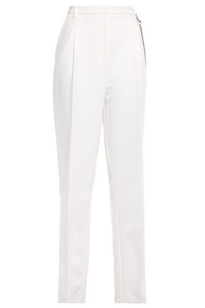 SALLY LAPOINTE Chain-embellished pleated stretch-cady straight-leg pants