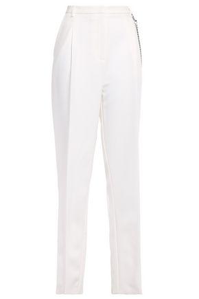 SALLY LAPOINTE بنطلون بأرجل مستقيمة من قماش كادي المرن مع طيات مزين بسلسلة