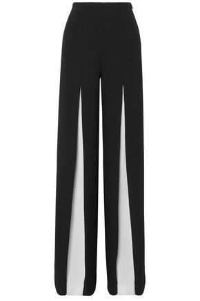 ROLAND MOURET Burton two-tone wool-crepe wide-leg pants