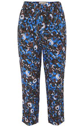 MARNI Printed silk-crepe slim-leg pants