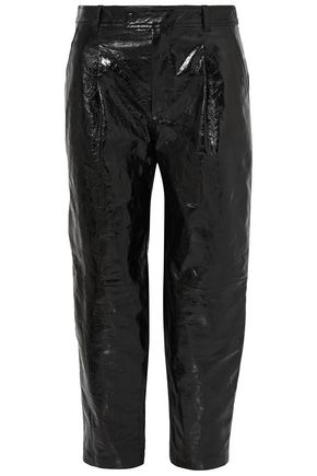 GIVENCHY Cropped glossed cracked-leather straight-leg pants