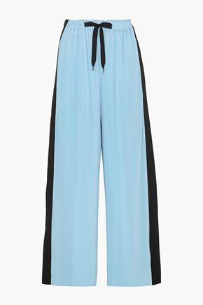 ROLAND MOURET Haven striped plissé-crepe wide-leg pants