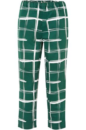MARNI Printed cotton and flax-blend slim-leg pants